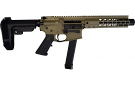 "Brigade MFG BM-9 Forged 9mm AR Pistol 9"" Barrel 8"" U-Rail, FDE Cerakote Finish, SBA3 Adjustable Pistol Brace - W / 1-33 Rd O.E.M. Glock Magazine & Shooters Package"