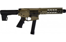 "Brigade MFG BM-9 Forged 9mm AR Pistol 9"" BBL 8"" U-Rail, FDE Cerakote Finish, M-2 Adjustable KAK Brace - W / 1-33 Rd O.E.M. Glock Magazine & Shooters Package"