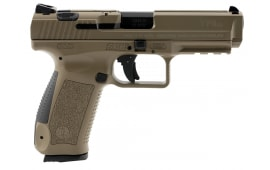"Century HG3759DN Canik TP9SA Double 9mm 4.4"" 10+1 3-Dot Black Interchangeable Backstrap Grip Desert Tan Polymer Frame Desert Tan Cerakote"