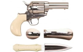 "Cimarron CA346DOC DOC Holliday Combo .45LC FS 3.5"" Nickel TRU-IVORY Revolver"