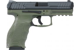 "HK 700009GRLELA5 VP9 Double 9mm Luger 4.09"" 10+1 3 Mags NS OD Green Interchangeable Backstrap Grip Black"