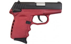 SCCY CPX-1 CBCR 9mm Pistol, w/ Safety, Black Slide on Crimson, DAO 10+1 w/ 2 Mags