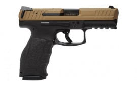 "HK VP9 Flat Dark Earth Slide on Black Polymer Frame 9mm 4.1"" (2) 15 Rnd Mags Interchangeable Backstraps- 81000135"