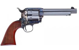 "Taylors and Company 555139 1873 Cattleman Gunfighter Single 5.5"" 6 rd Walnut Checkered Army Sized Grip CCH Frame Blued Revolver"