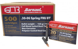 Barnaul 30-06 - 168 Grain FMJ BT Ammo - Steel Polycoat Case - 20 Rounds/Box - 500 Round Case