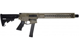 "Brigade MFG BM-9 Forged 9mm AR Rifle 16"" Barrel 15"" U-Rail, FDE Cerakote Finish, Adjustable Stock, 33rd OEM Glock Mag & Shooters Package"