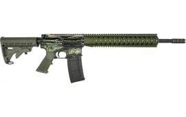 """RGuns RGQ Semi-Automatic AR-15 Rifle 16"""" Heavy Barrel .223/5.56NATO 30rd - YHM Flash Suppressor - Free Float Rail - Tiger Stripe / OD Green Finish"""