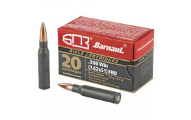 Barnaul .308 Win, 145 Grain FMJ Poly-Coated Steel Case - N/C 20 Round Box - Mfg # BRN308WIN145FMJ