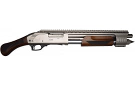 Emperor Arms Duke-III, Pump, 12ga, Turkish Walnut Furniture w/ Heat Shield, Nickel Finish 4+1 Capacity