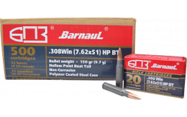 Barnaul BRN308WINHPBT150 .308 Win. 150 Grain Hollow Point Boat Tail 500rd - 500rd Case