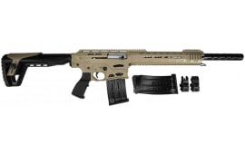 "Panzer Arms AR-12 PRO Semi-Auto Shotgun 12GA 3"" 5rd - All Steel Upper and Lower w/ Enhanced Gas System - Desert Tan Furniture"