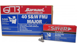 Barnaul 40 S&W Z-Comp Ammunition - 165 Grain FMJ Competition Ammo - Zinc Coated Casing - 50 Rounds/Box - 500 Round Case.
