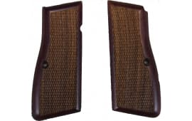 Browning Hi-Power Grips - Checkered - Rosewood