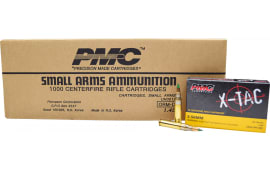 PMC 556K X-Tac 5.56 NATO LAP M855 62 GR Ammunition, Green Tipped, Brass, Boxer, Non-Corrosive - 1000rd Case