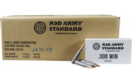 Red Army Standard AM3090 .308 Win, 150 GR FMJ Lead Core Ammo, Non-Corrosive, Berdan Primed - 500rd Case
