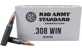 Red Army Standard AM3090 308 Win, 150 GR FMJ Lead Core Ammo, Non-Corrosive, Berdan Primed - 20rd Box