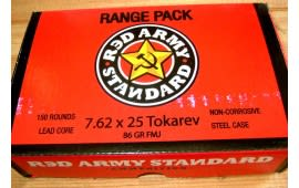 Red Army Standard 7.62x25 86 GR Steel Cased Lacquer Coated Ammo - 150rd Range Pack