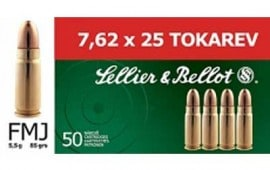 Sellier & Bellot 7.62x25 85 GR FMJ Ammo - 50rd Box