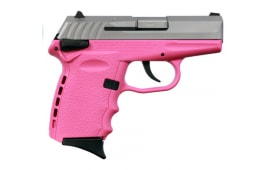 SCCY CPX-1 TTPK 9mm Polymer Frame Pistol /w Safety, Satin Stainless Slide on Pink, DAO 10+1 w/ 2 Mags