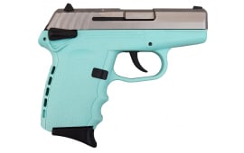 SCCY CPX-1TTSB, 9mm Polymer Frame Pistol, Satin Stainless Slide on SCCY Tiffany Blue Finish, DAO 10+1 w/ 2 Mags