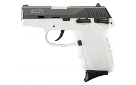 SCCY CPX1CBWT CPX-1 9mm Pistol, w/ Safety, Black Nitride Slide on White, DAO 10+1 w/ 2 Mags