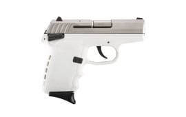 SCCY CPX-1 TTWT 9mm Pistol, 3.1in Barrel White Polymer Grip/Frame Grip Stainless Steel - CPX1TTWT