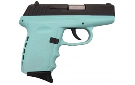 SCCY CPX-2CBSB, 9mm Polymer Frame Pistol, Blued Steel Slide on SCCY Aqua Blue Finish, DAO 10+1 w/ 2 Mags