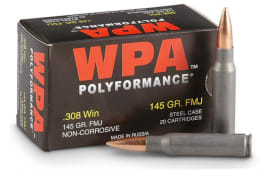 Wolf Polyformance 308FMJ .308 Winchester 145 GR Ammo - 500rd Case