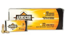 Armscor .22 LR High Velocity Copper Plated Hollow Point, 36 Grain, 1260 fps, 500 Round Brick