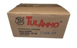 TULAMMO - Tula Ammunition TA9-1000 Case 9mm Luger Handgun Ammo, 115 GR FMJ Non-Corrosive, Polymer-Coated Steel Case - 1000 Round Case