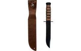 Reproduction U.S. Fighting Knife, Leather Grip, With Scabbard - Imported