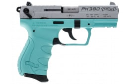 """Walther Arms PK380 380 ACP Pistol, 8rd 3.66"""" Robins Egg Blue - 5050325"""
