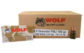 Wolf Military Classic 6.5 Grendel 100gr FMJ Ammo - 500rd Case