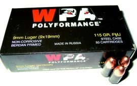 Wolf 9mm 115gr FMJ Ammo - 50rd Box