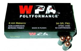 Wolf Polyformance 9x18 Makarov 94gr FMJ Ammo - 50rd Box
