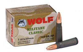 Wolf Performance Ammunition, 7.62x39 124 GR Hollow Point, Polymer Coated, Steel Case, Non-Corrosive -  1000 Round Case