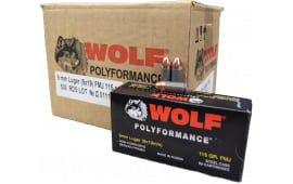 Wolf 9mm 115 GR FMJ Ammo - 500rd Case