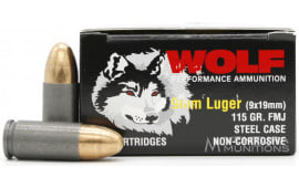 Wolf Performance 9mm 900 Round Tin - 115 GR FMJ Ammo - Coated Steel Cases, Berdan Primed, Non-Corrosive - 18-50 Rd Boxes in 900 Rd Sealed Tin