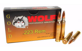 Wolf Performance Gold .223 55 GR Premium Grade FMJ Ammo - 1000rd Case - Brass, Boxer, Noncorrosive, Re-loadable.