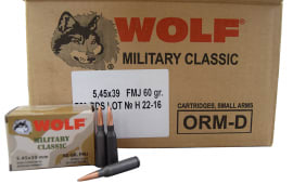 Wolf Performance Ammunition 5.45x39, Polymer Coated Steel Case, Non-Corrosive -  60 GR FMJ Ammo - 750 Round Case