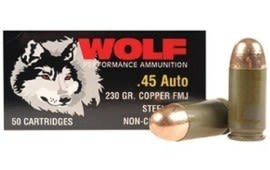 Wolf Polyformance .45 ACP 230 GR FMJ Ammo - 50rd Box