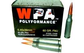 Wolf Polyformance 5.45x39 60 GR FMJ Ammo - 750rd Case