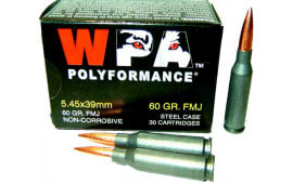Wolf Performance Ammunition Caliber 5.45x39, 60 GR, FMJ Ammo, Non-Corrosive - 1000 Round Case