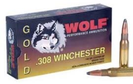 Wolf Gold .308 150 GR Brass Cased Soft Point Ammo - 20rd Box
