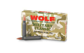 Wolf Military Classic .223 Performance Ammunition,Steel Case, .55 GR, FMJ - Non-Corrosive - 500 Round Case