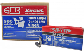 Barnaul 9mm Z-Comp Ammunition - 148 Grain FMJ Competition Ammo - Zinc Coated Casing - 50 Rounds/Box - 500 Round Case