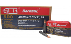 Barnaul .308 Winchester - 168 Grain Boat Tail, Soft Point Ammo - Steel Polycoat Casing - 20 Rounds/Box - 500 Round Case