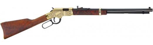"Henry H004VD3 Golden Boy Deluxe Engraved 3rd Edition 17 HMR Lever 17 Hornady Magnum Rimfire (HMR) 20"" 11+1 American Walnut Stock Blued Barrel/Brass Receiver"