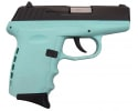 SCCY CPX-2 CBSB 9mm Semi-Auto Polymer Frame Pistol, Blued Steel Slide on Aqua Blue Frame, DAO, No Safety, 10+1, W / 2 Mags