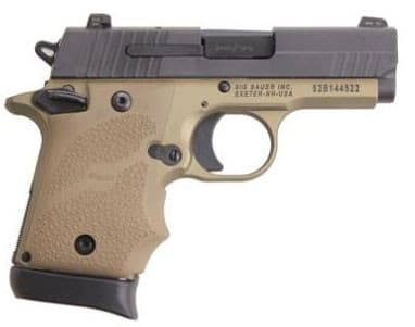 Sig Sauer P938 Combat 9mm Pistol, 7rd 3-2 Tone FDE SAO NS - 9389CBT
